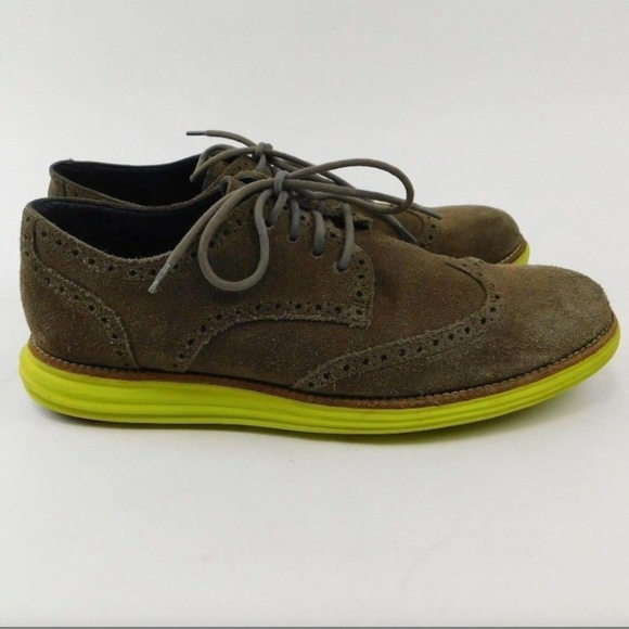 Cole Haan Lunargrand Gray Suede Yellow